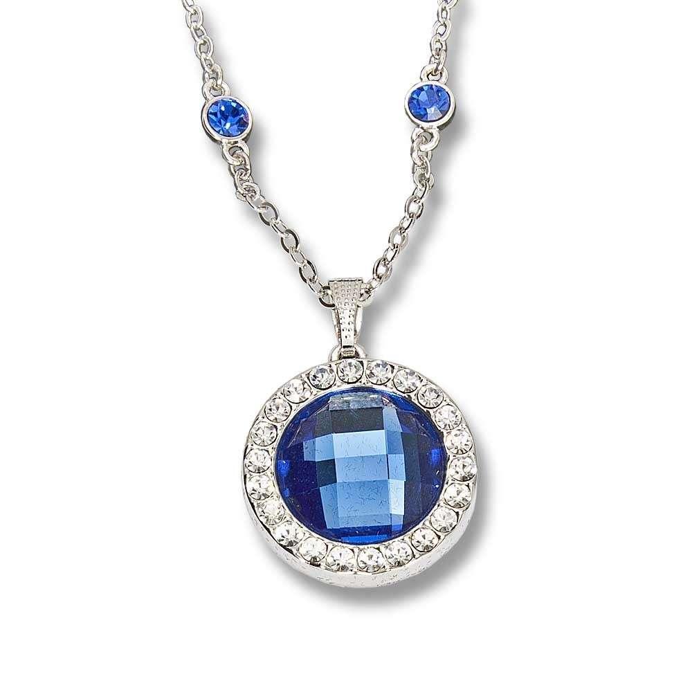 Kette Halskette Dein Glücksstein Monatsstein Monat Dezember Saphir dunkelblau mit Strasssteinchen