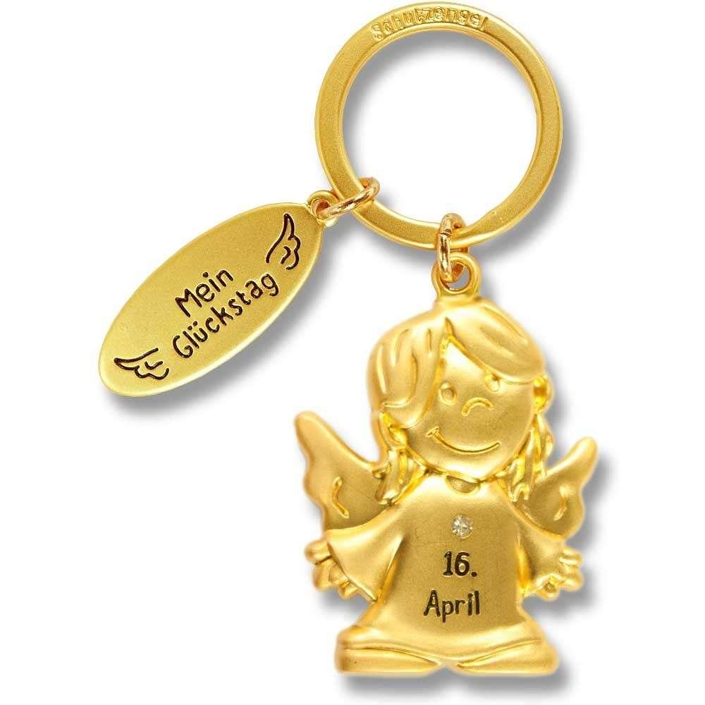 Schutzengel Schlüsselanhänger Mein Glückstag 16. April gold