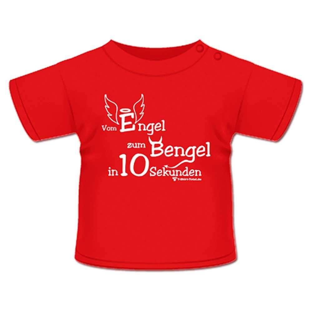 Anna & Philip Baby Kind Fun Spruch T-Shirt Rot Vom Engel zum Bengel Größenwahl