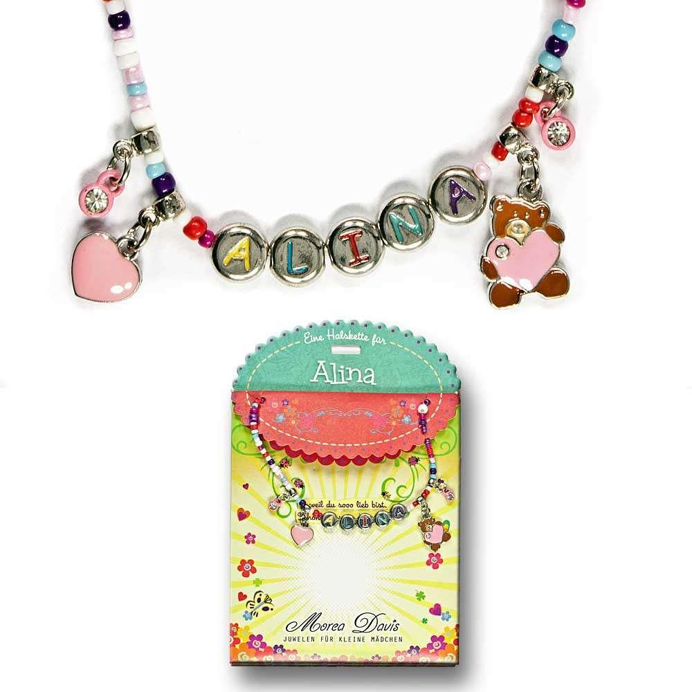 Kinderkette Kinderperlenhalskette Kette Spruch Love rot Halskette Herz Teddybär Perlenkette
