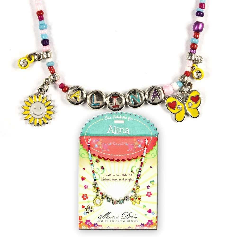 Kinderkette Kinderperlenhalskette Kette Spruch Happy blau Halskette Sonnenblume Schmetterling Perlenkette
