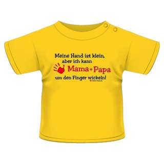 Anna & Philip Baby Kind Fun Spruch T-Shirt Gelb Mama Papa Finger wickeln Größenwahl