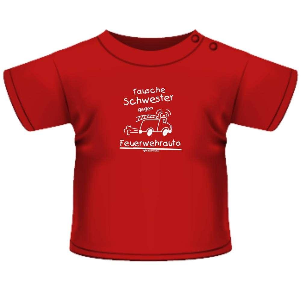 Anna & Philip Baby Kind Fun Spruch T-Shirt rot Tausche Schwester gegen Feuerwehr Größenwahl