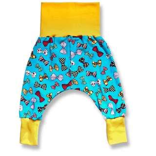 Pumphose Baby Mitwachshose Schleifen türkis gelb Größenwahl 50/56 bis 98/104 Jersey
