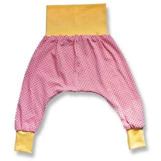 Pumphose Baby Mitwachshose Blumen Retro rosa gelb Größenwahl 50/56 bis 98/104 Jersey