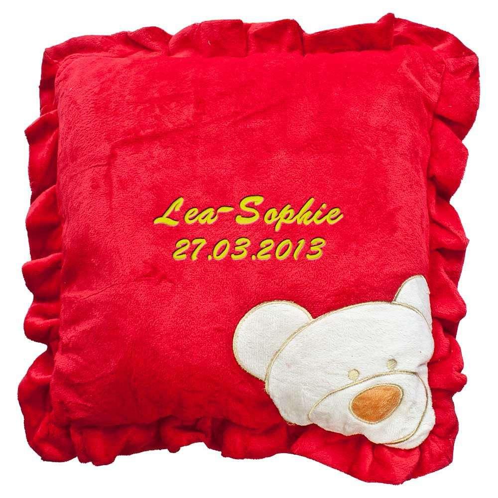 Babykissen rot mit Namen bestickt Decke 30x30 cm