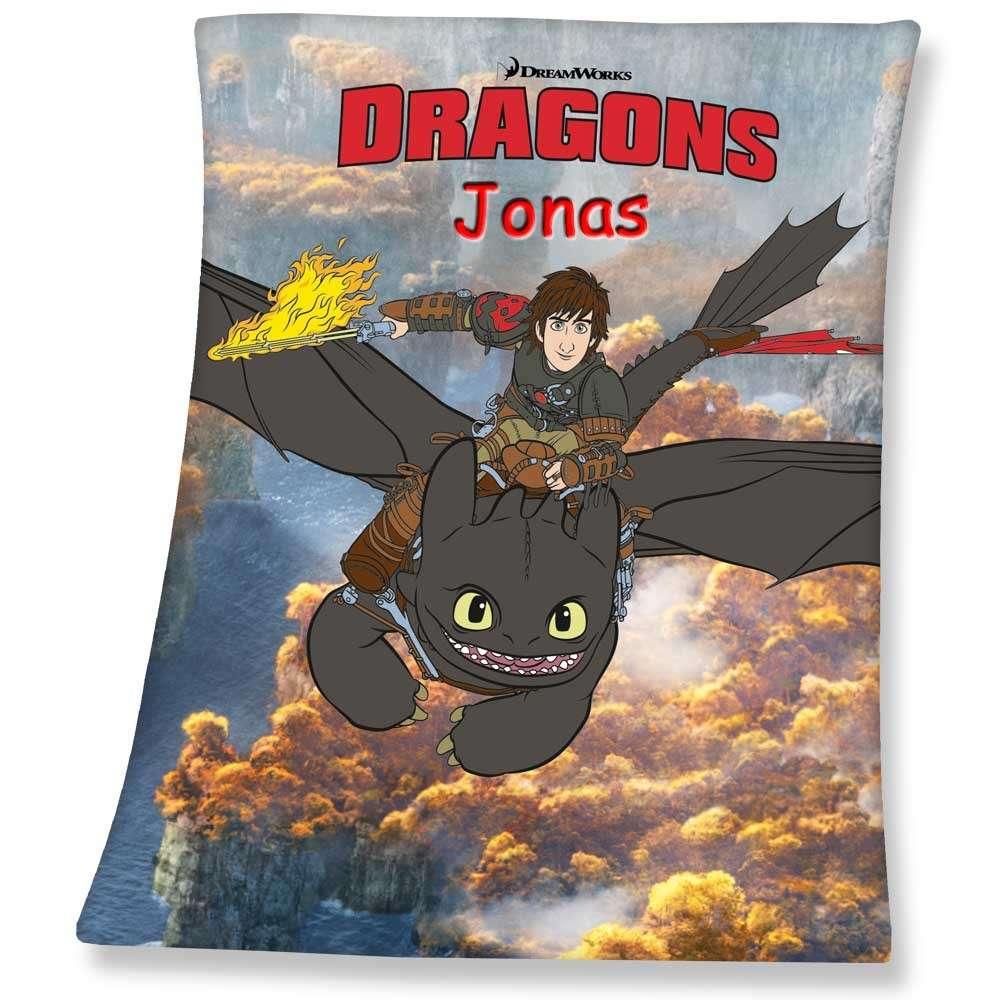 Decke Dreamworks Dragons mit Namen bestickt 130x160 cm