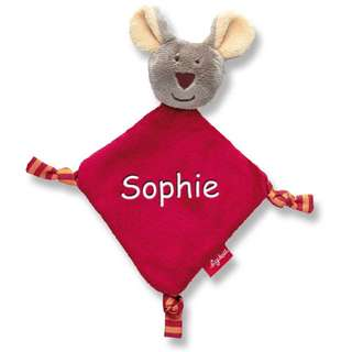 Sigikid Newborn Schmusetuch mit Namen bestickt Baby Geschenk zur Geburt Schnueffeltuch Maus Frosch Bär Hase
