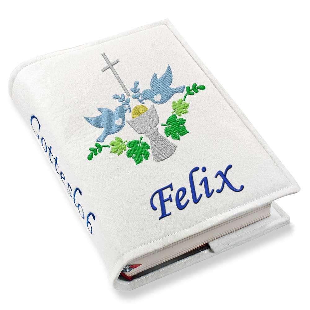 Gotteslobhülle Kelch blau Filz mit Namen bestickt
