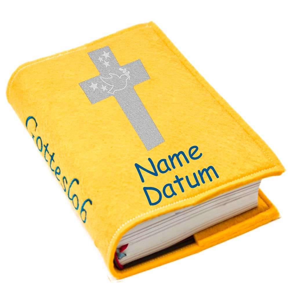 Gotteslobhülle Kreuz 1 silber Filz mit Namen bestickt