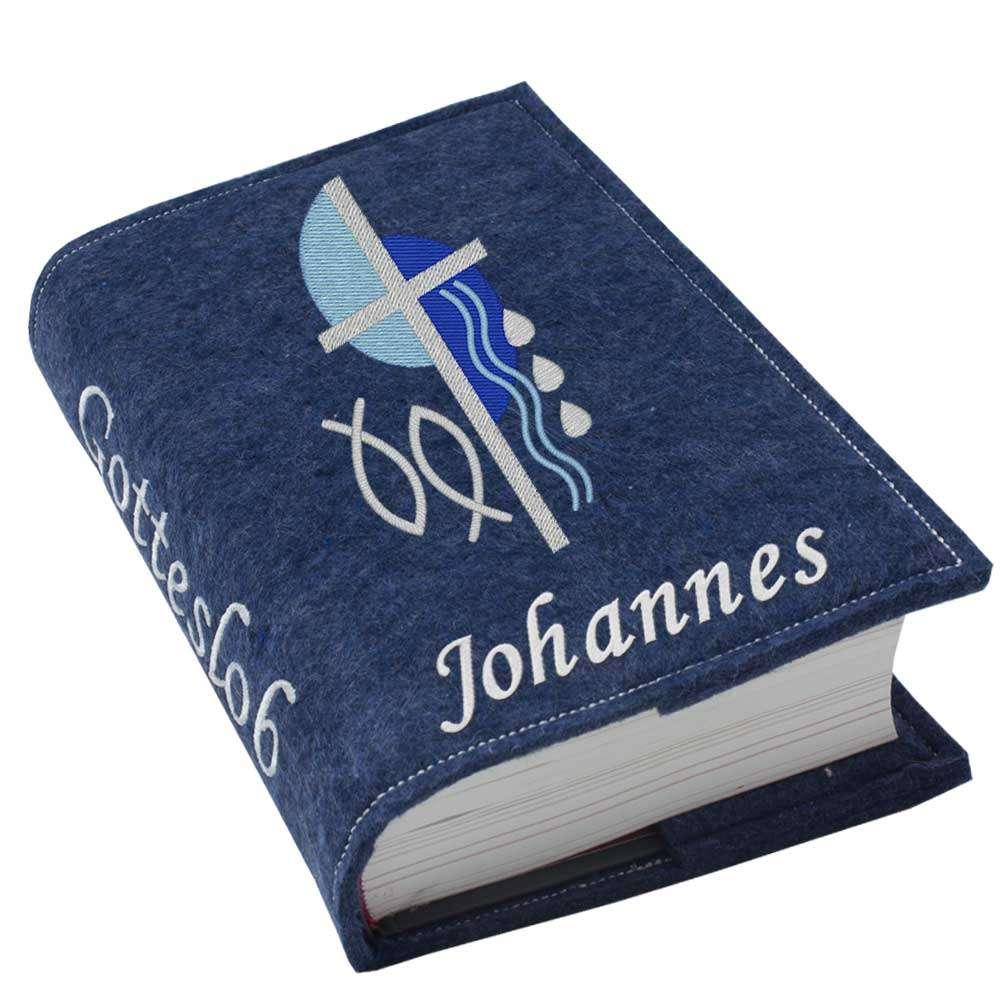 Gotteslobhülle Kreuz 2 blau Filz mit Namen bestickt
