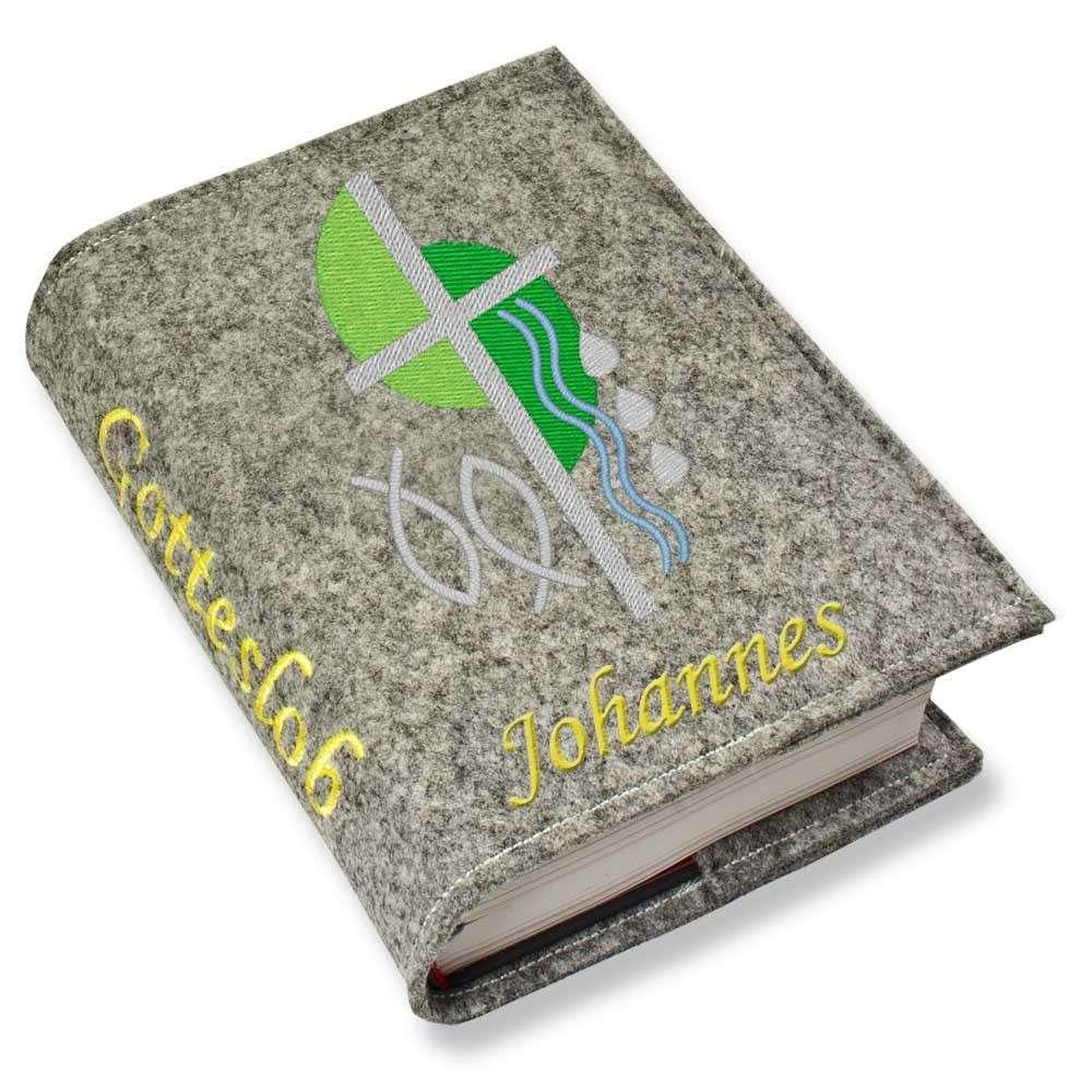 Gotteslobhülle Kreuz 2 grün Filz mit Namen bestickt