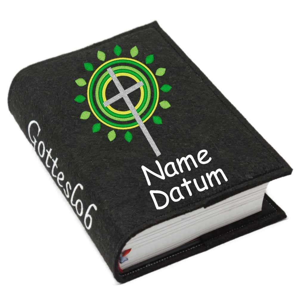 Gotteslobhülle Kreuz 3 grün Filz mit Namen bestickt