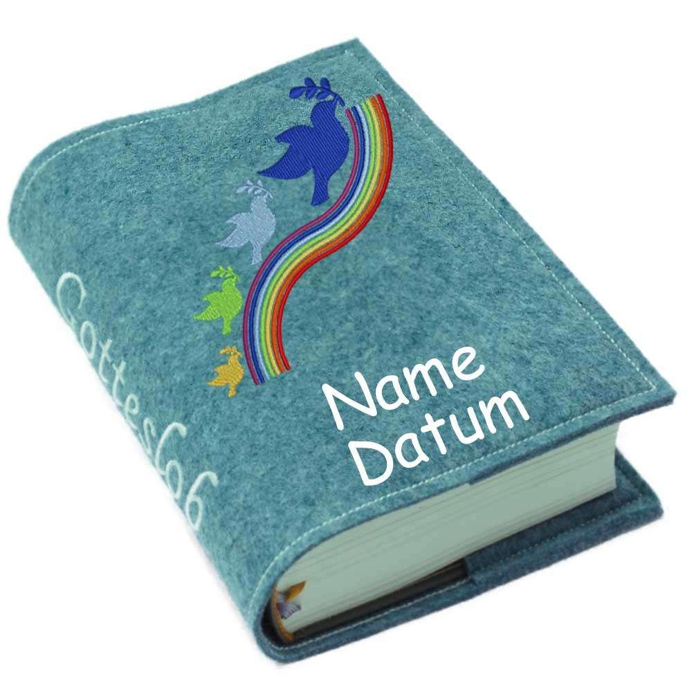 Gotteslobhülle Regenbogen blau Filz mit Namen bestickt