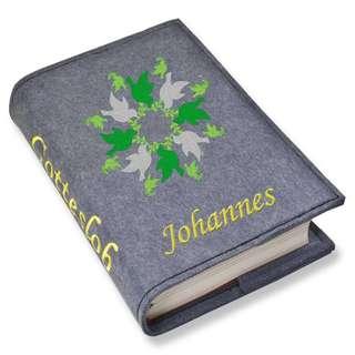 Gotteslob Gotteslobhülle Tauben grün Filz mit Namen bestickt hellgrau weiß dunkelgrau lila blaugrau dunkelblau türkis maigrün flieder