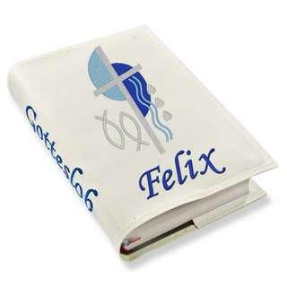 Gotteslob Gotteslobhülle Kreuz 2 blau Kunstleder mit Namen bestickt weiß