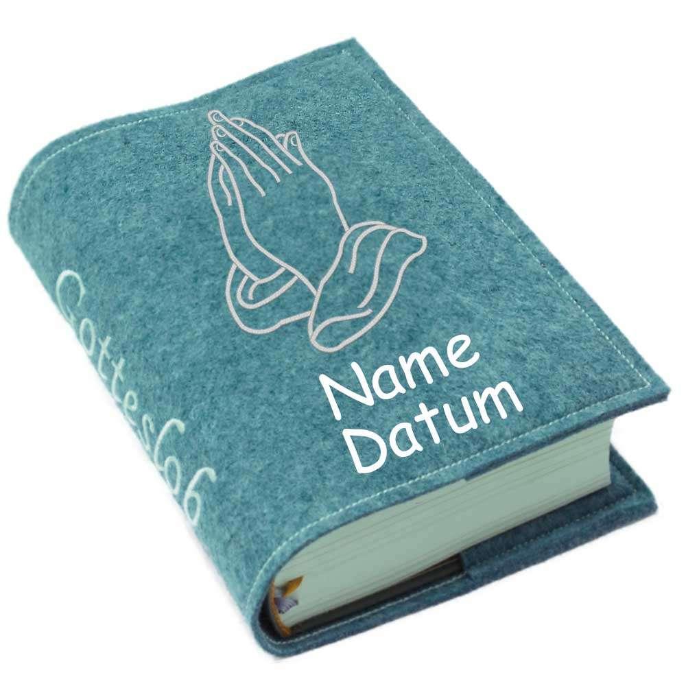 Gotteslobhülle betende Hände Filz mit Namen bestickt