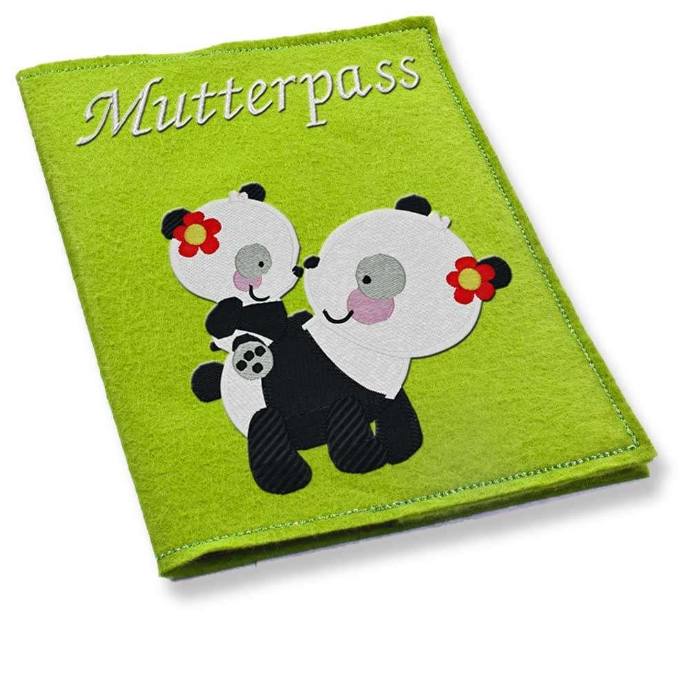 Mutterpasshülle Filz Mama + Baby Panda bestickt