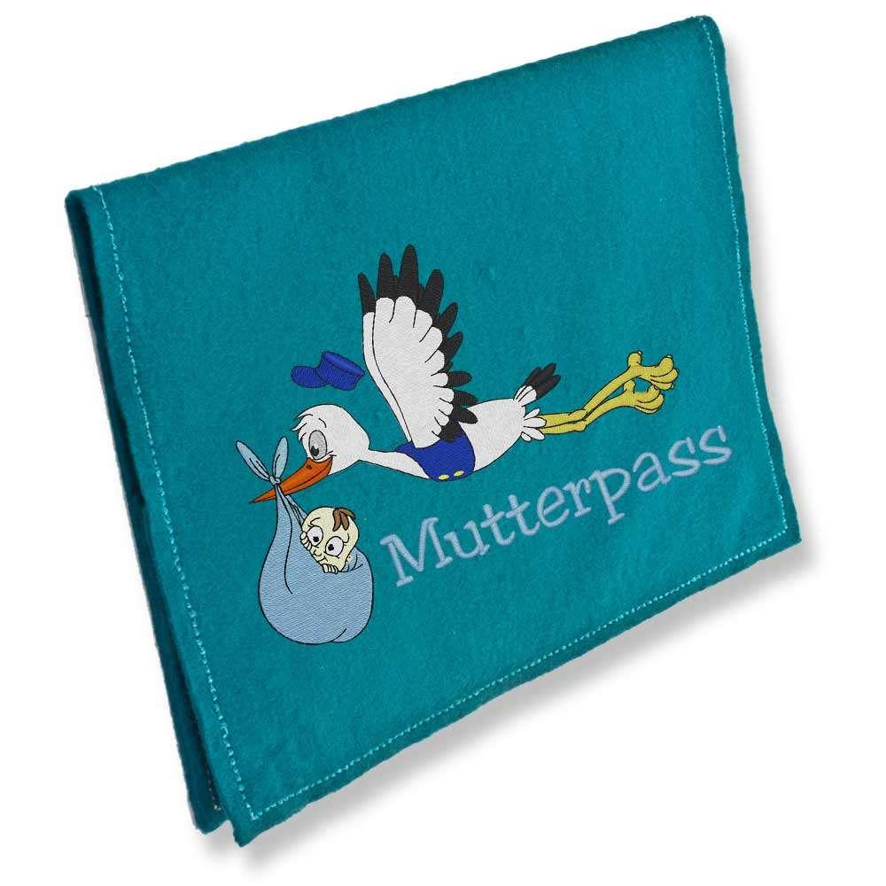 Mutterpasshülle Storch fliegend hellblau