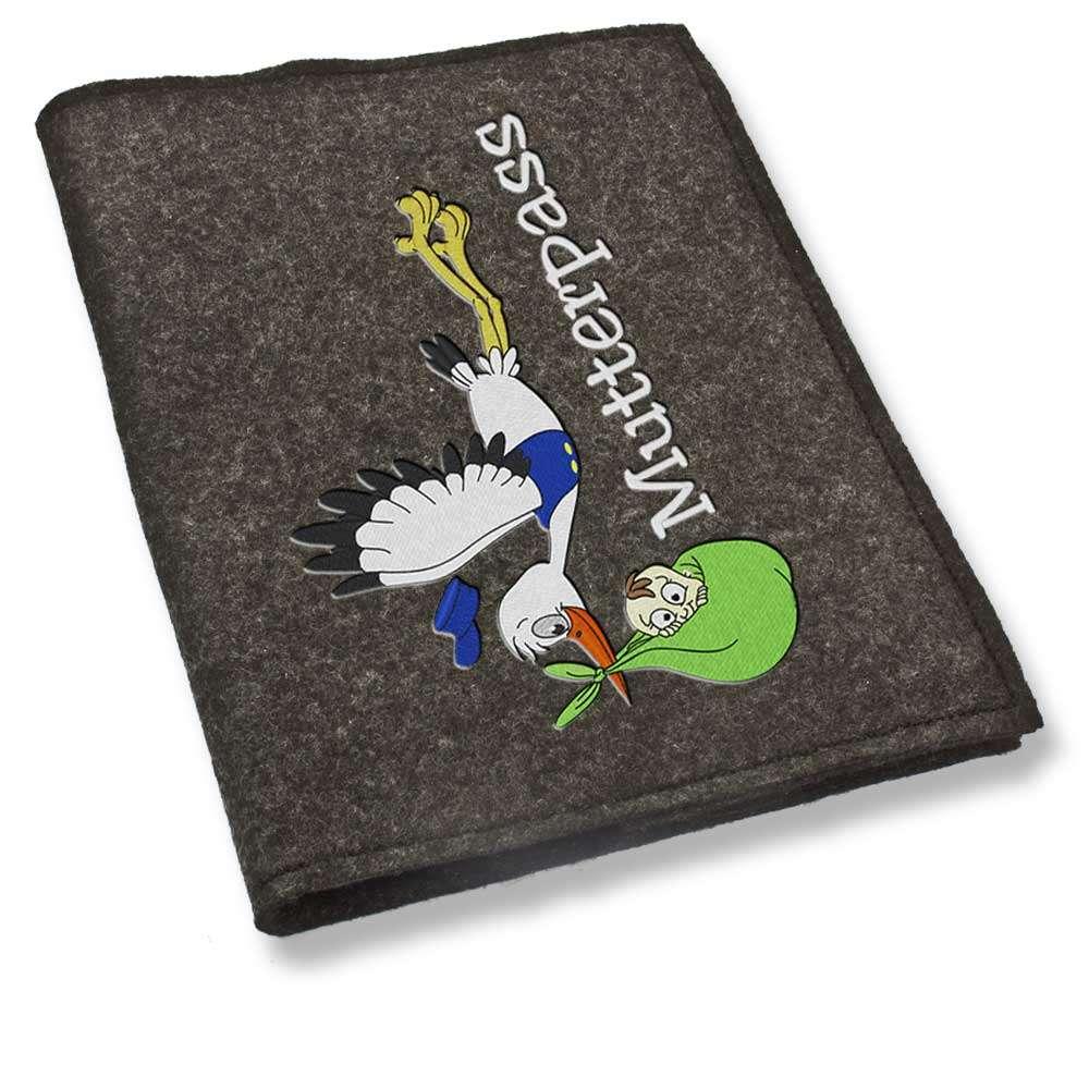 Mutterpasshülle Storch fliegend grün