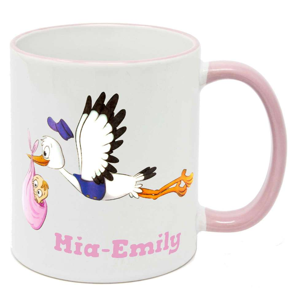 Tasse mit Namen Geburt Storch fliegend Mädchen
