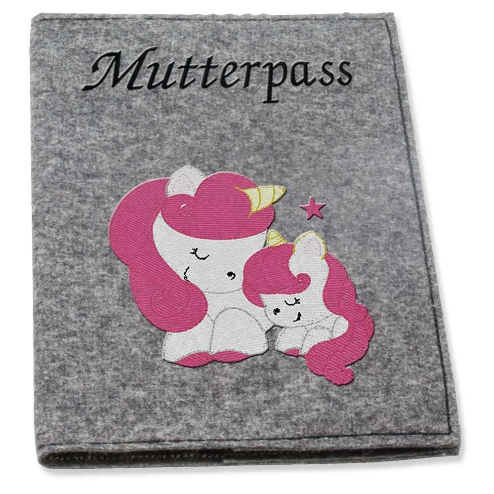 Mutterpasshülle Wollfilz Einhorn pink