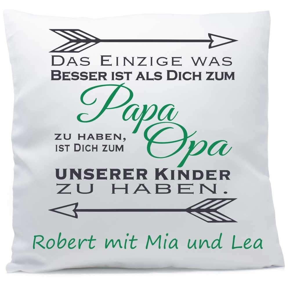 Kissen Papa Opa unserer Kinder mit Namen 40x40 cm