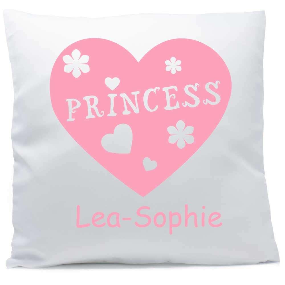 Kissen mit Namen Princess Herz rosa 40x40 cm