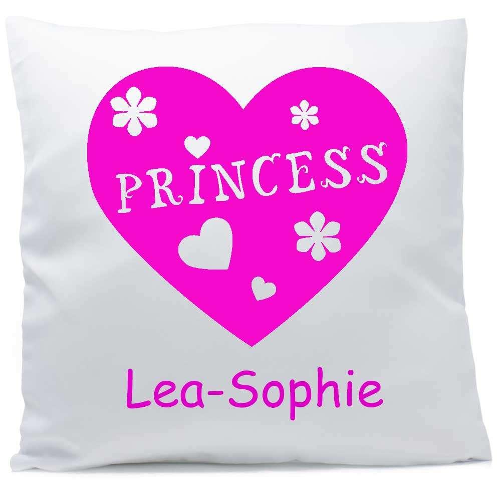 Kissen mit Namen Princess Herz pink 40x40 cm
