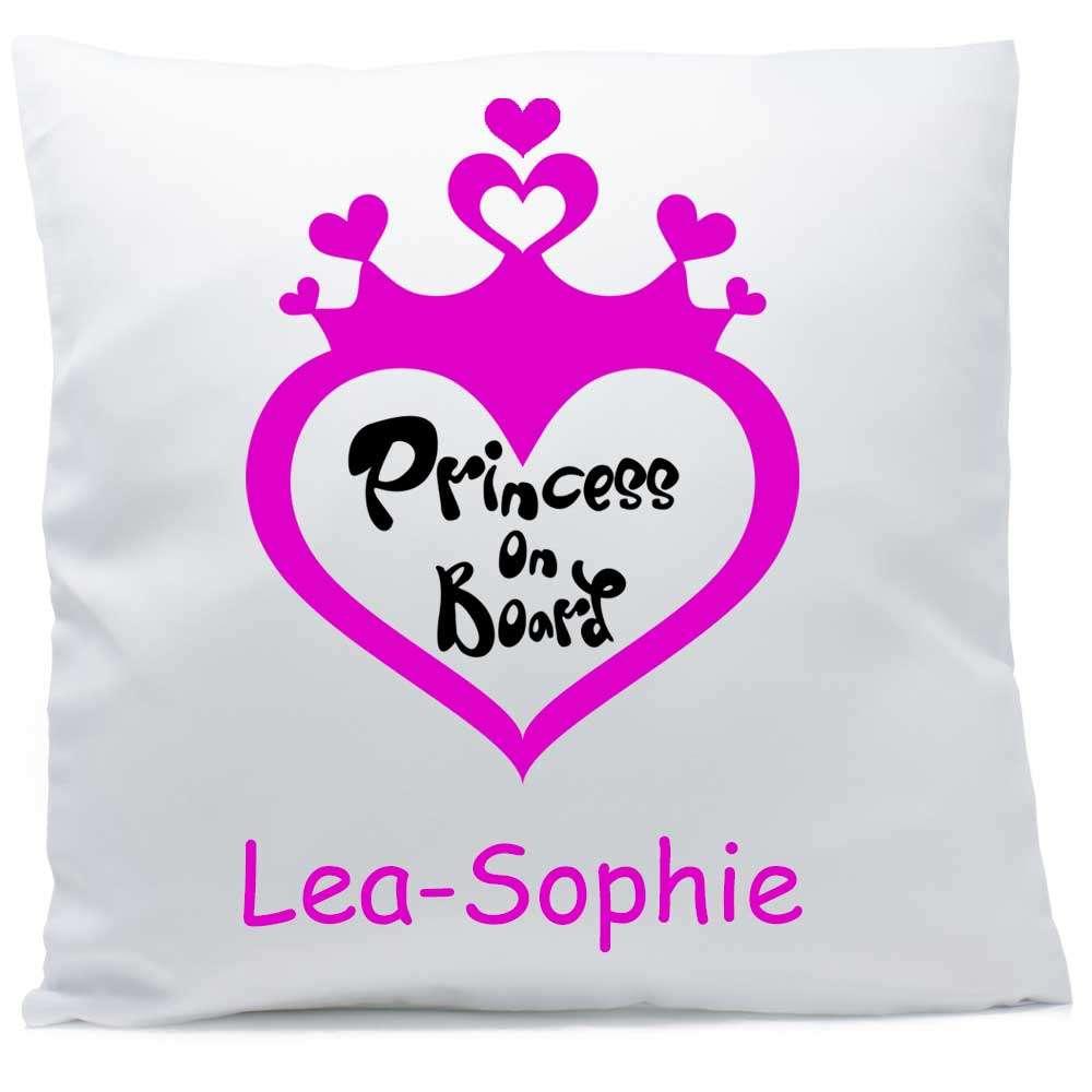 Kissen mit Namen Princess on board Herz pink 40x40 cm