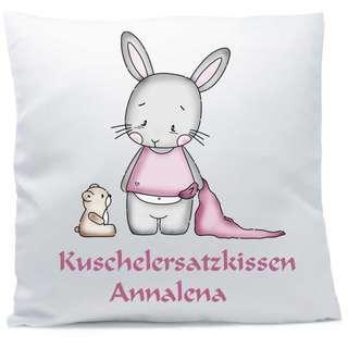 Kissen mit Namen Hase Bär Baby rosa 40x40 cm inkl. Füllung Kuschelkissen
