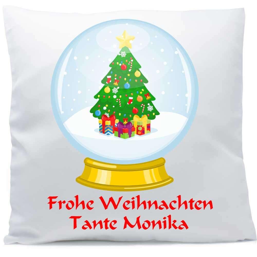 Weihnachtsbaum Weihnachten.Weihnachten Kissen Mit Namen Schneekugel Weihnachtsbaum Sl Store
