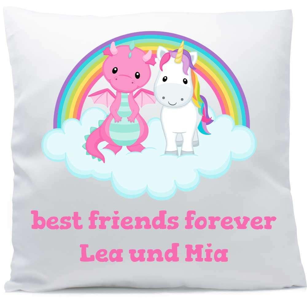 Kissen mit Namen Regenbogen Einhorn Drache pink 40x40 cm inkl. Füllung