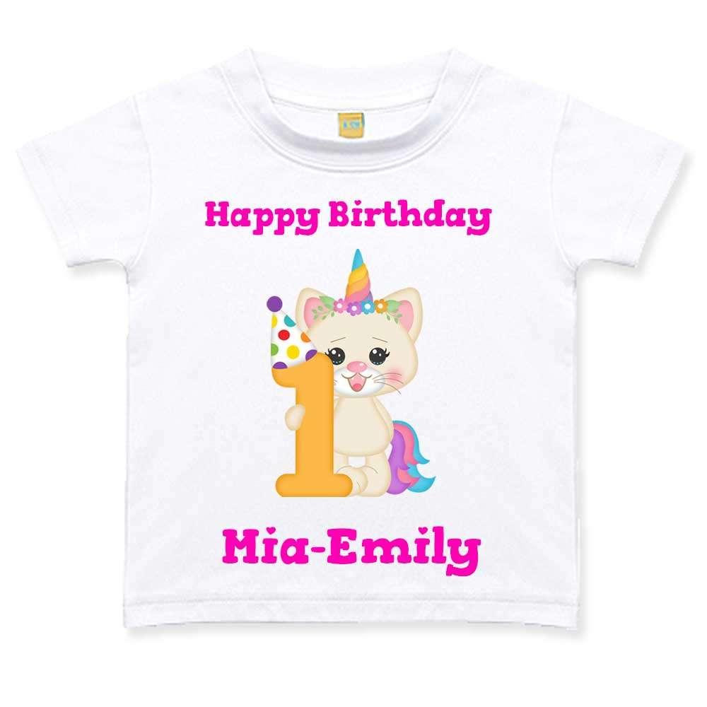 Geburtstagstshirt Mädchen 1 Jahr weiß Katze Einhorn Geburtstag T-Shirt