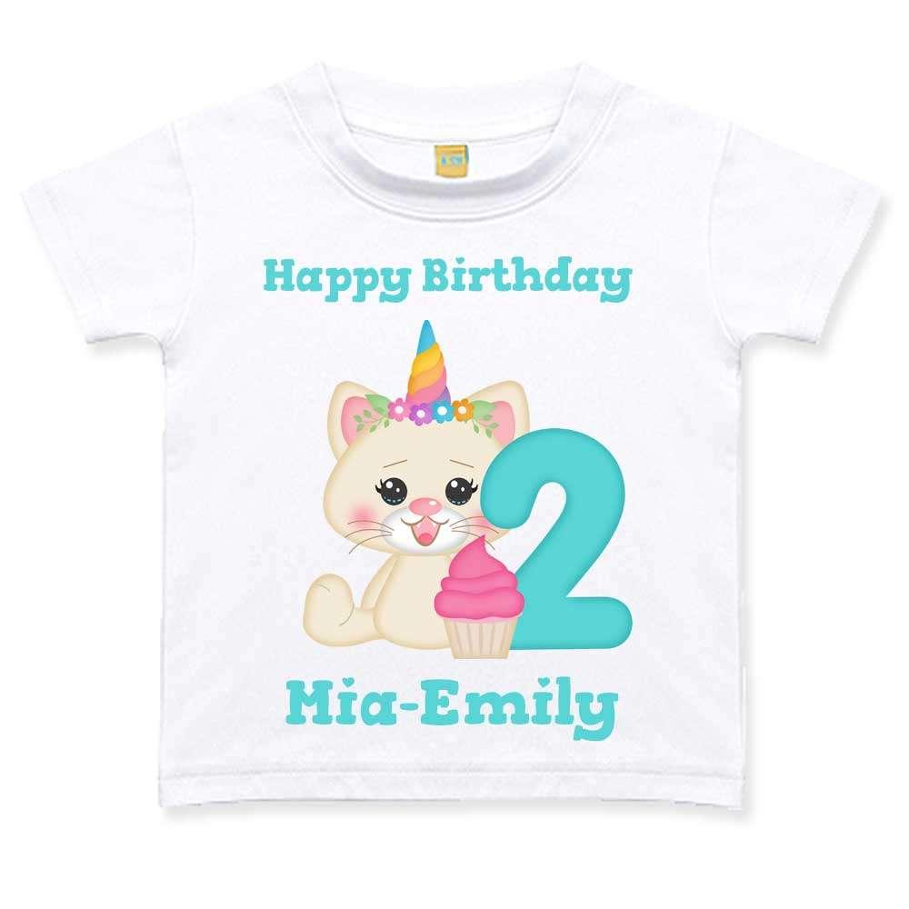 Geburtstagstshirt Mädchen 2 Jahre weiß Katze Einhorn Geburtstag T-Shirt