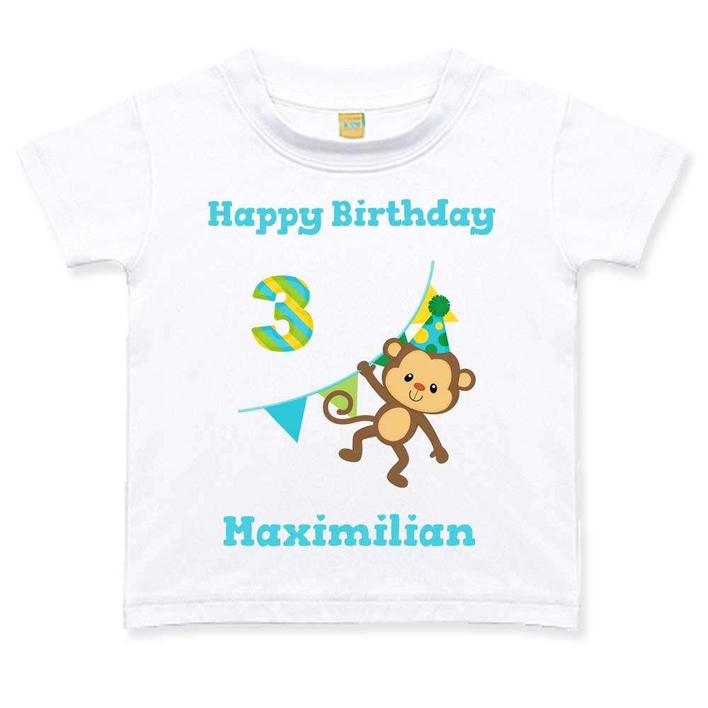 Geburtstagstshirt Junge 3 Jahre weiß Affe Wimpel Geburtstag T-Shirt