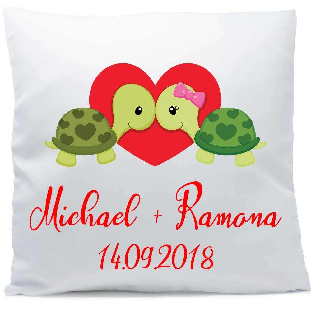 Kissen mit Hochzeit Schildkröten 40x40 cm inkl. Füllung