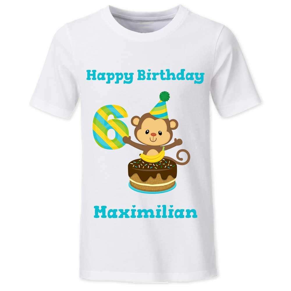 Geburtstagstshirt Junge 6 Jahre weiß Affe Torte Geburtstag T-Shirt