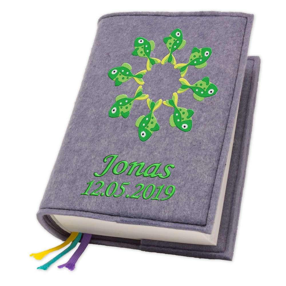 Evangelische Gesangbuchhülle Fisch grün Filz mit Namen bestickt