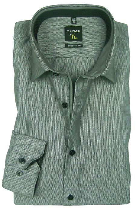 OLYMP No. 6 Six super slim Hemd Comfort Stretch grau Fischgrat 0498-64-68 Patch