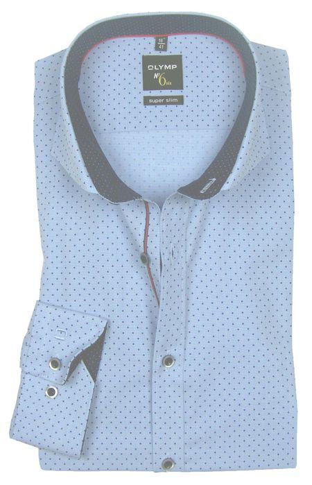 OLYMP No. 6 Six super slim Hemd Comfort Stretch Muster hellblau 2544-84-11 langarm