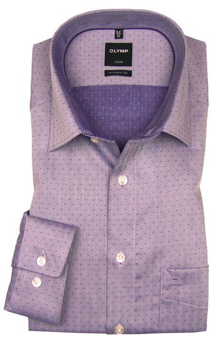 OLYMP Luxor - modern fit Hemd violett Muster 1212-83-83 Ärmellänge 72 cm