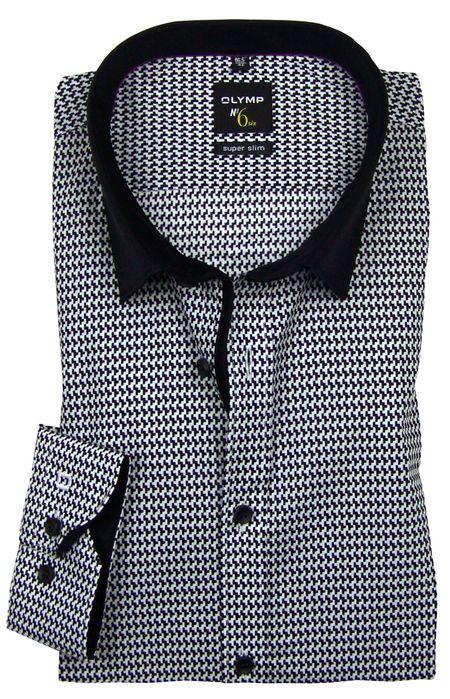 OLYMP No. 6 Six super slim Hemd Comfort Stretch Muster schwarz-weiß 2525-84-68
