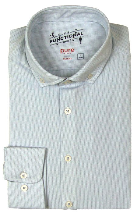 PURE Functional Shirt, Slim Fit, weiß-blau, 3685-21212-100 langarm