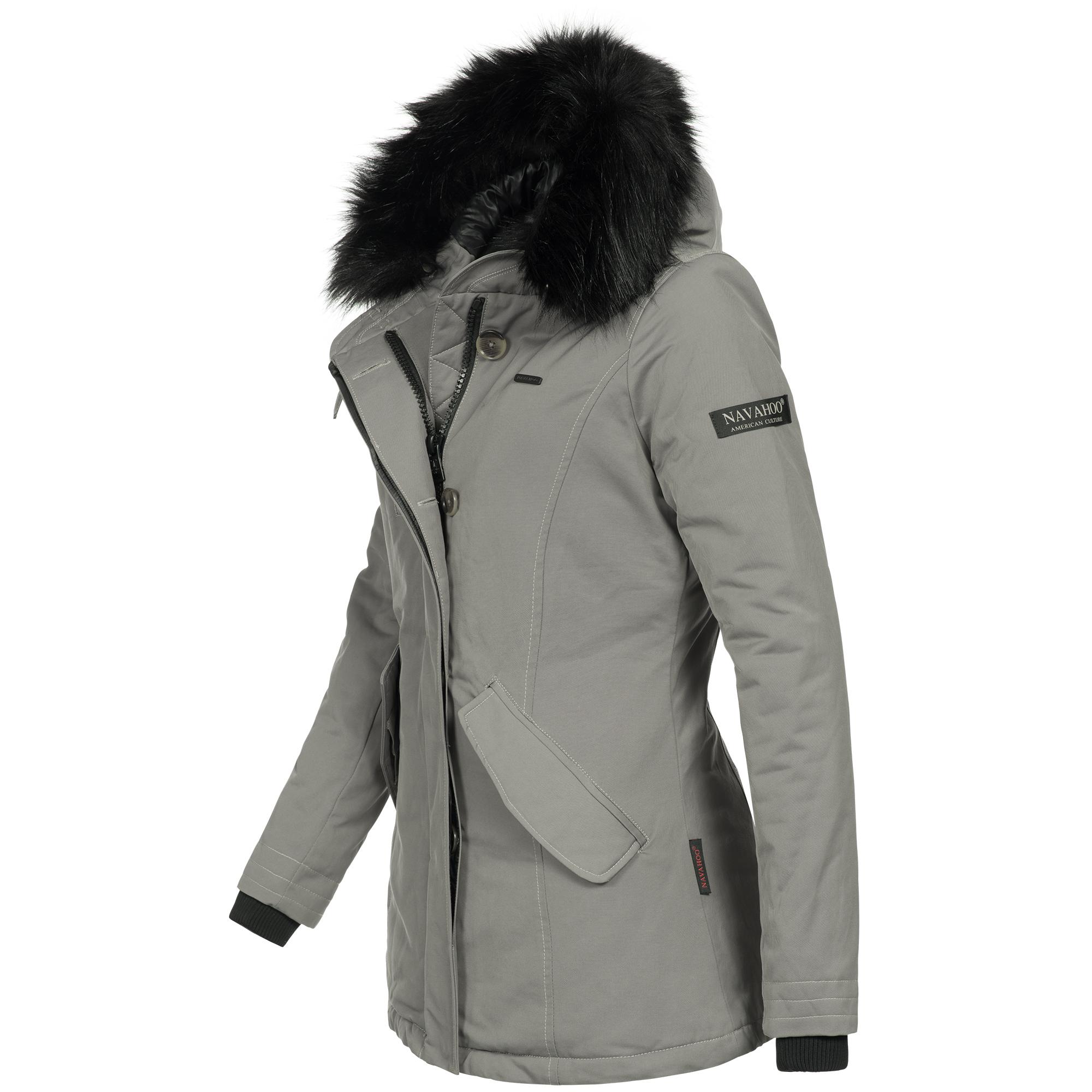 offizielle Bilder klassisch retro Navahoo NISAM Damen Jacke Parka Mantel Winterjacke warm gefüttert Kunstpelz  Luxus 9 Farben