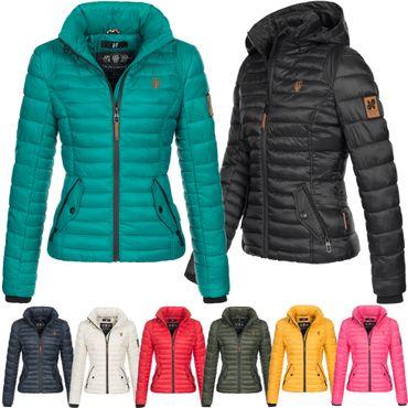 Navahoo Damen Jacke Übergangsjacke gesteppt Steppjacke leicht Frühling Kapuze Riva173 XS-XXL 8-Farben