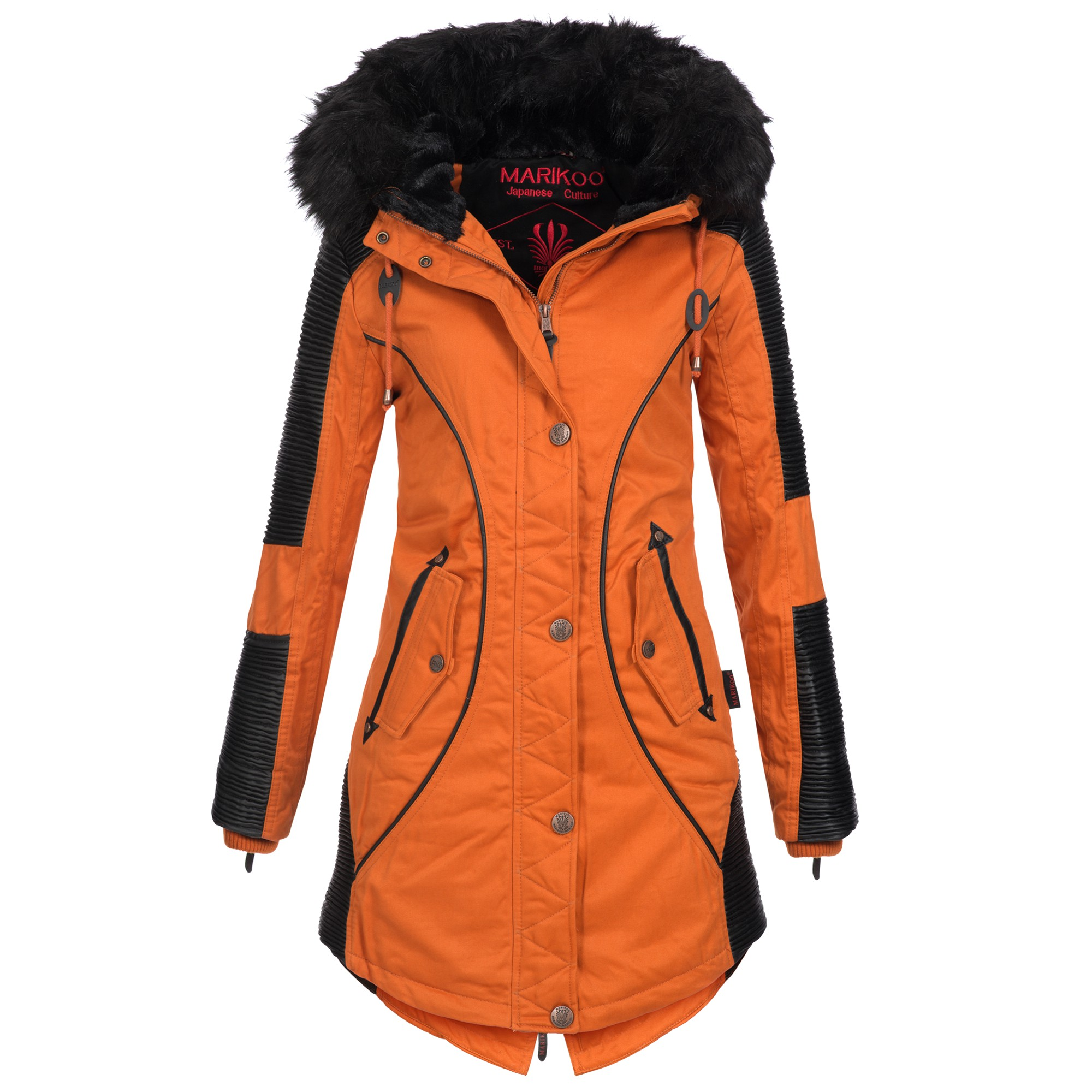 Marikoo Damen Winter Jacke Mantel Winterjacke warm gefüttert