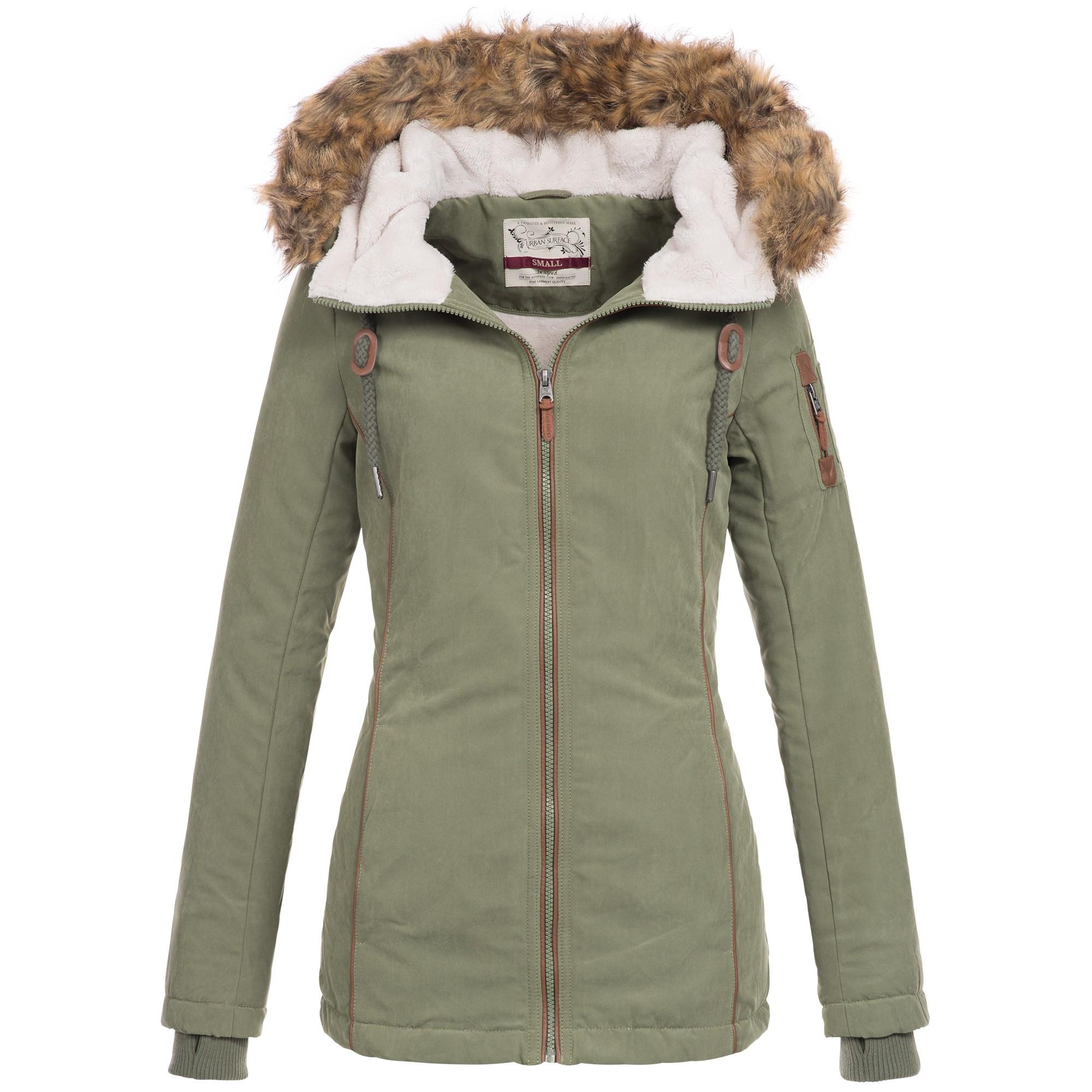 b1f2e14f52a825 Urban Surface Damen Winter Jacke Mantel Parka Teddyfell warm gefüttert  Winterjacke 44392 S-XL