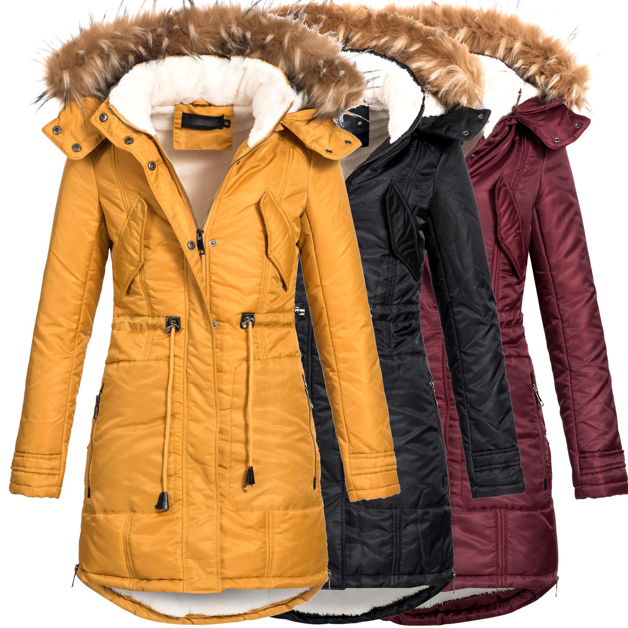 e87619dabf136b OS-Fashion Damen Mantel Jacke Winterjacke Parka warm gefüttert 16001 ...
