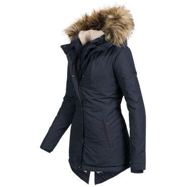 Marikoo AKIRA Damen Mantel Jacke Parka Winterjacke warm gefüttert Doublezipper XS-XXL 5Farben